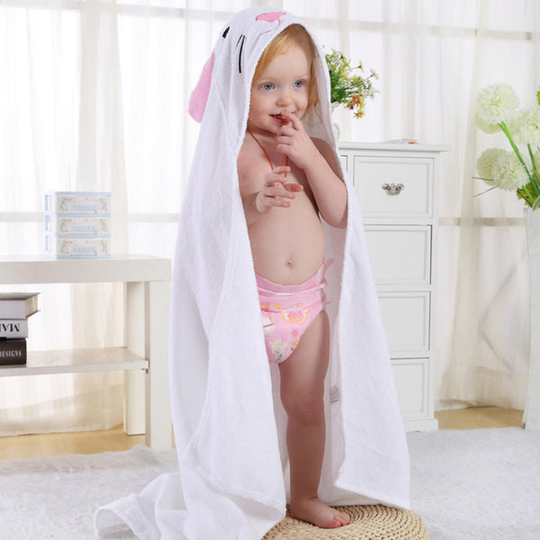 Cotton Hooded Bath Towel  - White Rabbit - Just Kidding