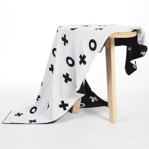XO Monochrome Cotton Blanket - Just Kidding Store