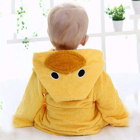 Baby Hooded Animal Cartoon Bathrobe - Yellow Duck - Just Kidding Store