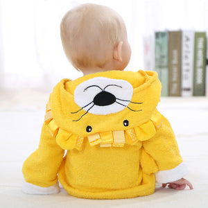 Yellow Lion terry baby bathrobe towel aspen - Just Kidding Store