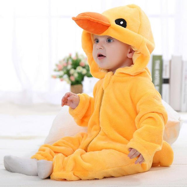 Hooded Flannel Romper Jumpsuit - Little Duck - Just Kidding Store