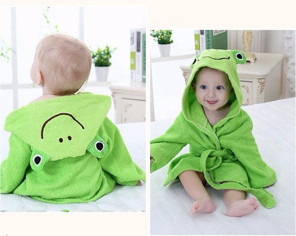 Baby Hooded Animal Cartoon Bathrobe - Green Frog - Just Kidding Store