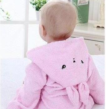 Baby Hooded Animal Cartoon Bathrobe - Pink Bunny - Just Kidding Store