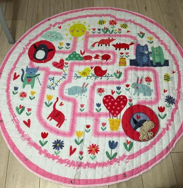 Activity Play Mat Kids Toy Storage Bag - Zoo Maze - Just Kidding Store