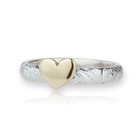 Sterling Silver & Gold Heart Ring
