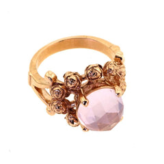 9kt Gold & Pink Quartz Four Roses Ring