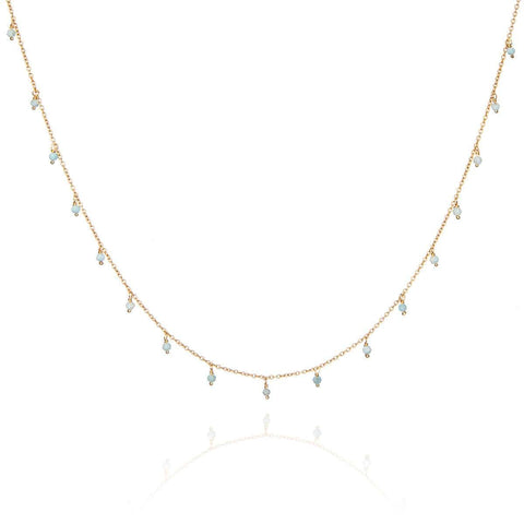 Yellow Gold Plated Zanna Necklace With Aquamarine