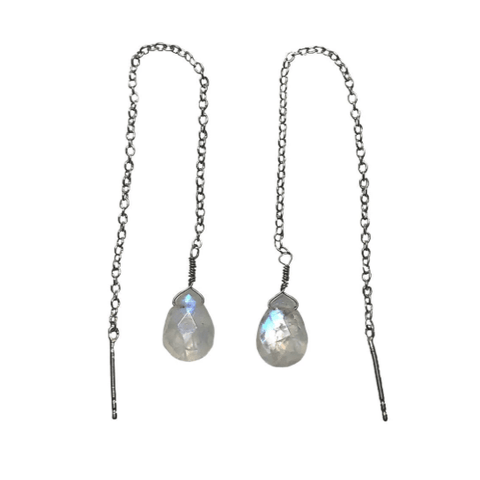 Rhodium Plated Threader Earrings With Rainbow Moonstone