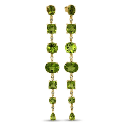 18K Yellow Gold Earrings with Peridot and 12 Diamonds