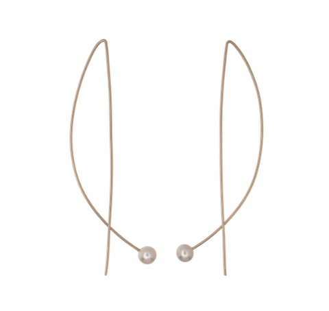 14kt Gold-fill Long Wire Pearl Earrings