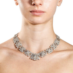 white gold and diamond lace collar necklace