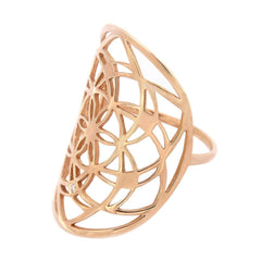Rose Gold & Diamond Flower of Life Ring