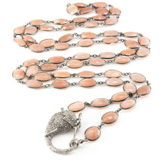 Sterling Silver Bezel Peach Moonstone Elephant Clasp Necklace