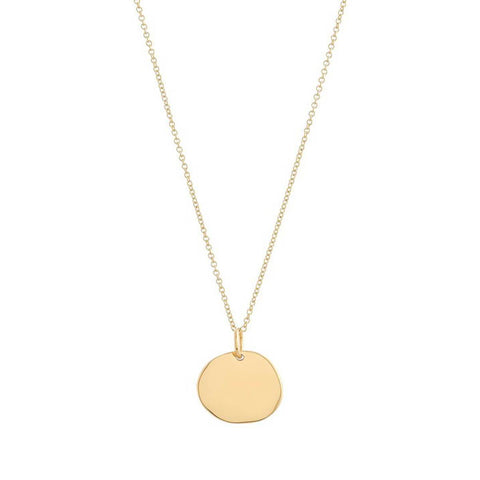 Yellow Gold Plated Personalised Disc Necklace