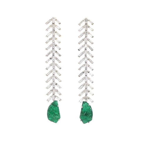 Reve Diamond & Carved Emerald Danglers