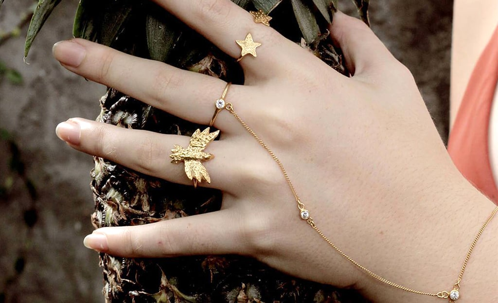 24kt Gold Plated Sterling Silver Duo Star Ring