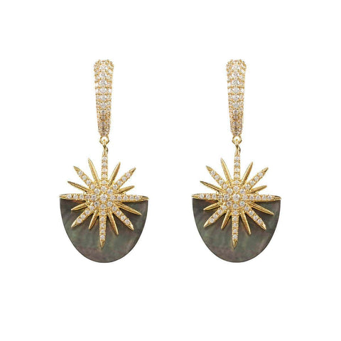 Yellow Gold Plated Sunburst Grey Mother Of Pearl Earrings