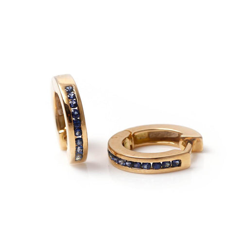 18kt Yellow Gold Funny Sapphire Huggies
