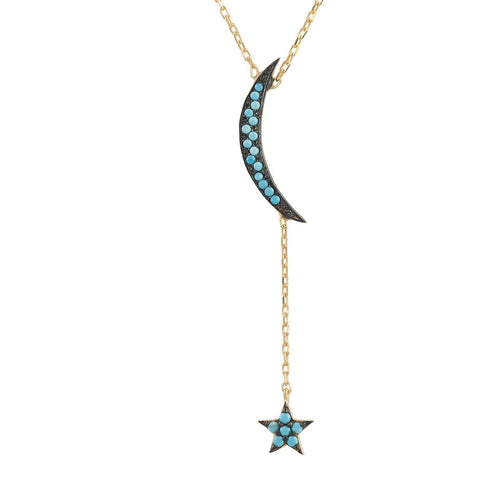 Yellow Gold Plated Small Moon & Star Turquoise Cubic Zirconia Necklace