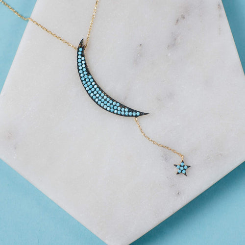 Yellow Gold Plated Large Moon & Star Turquoise Cubic Zirconia Necklace