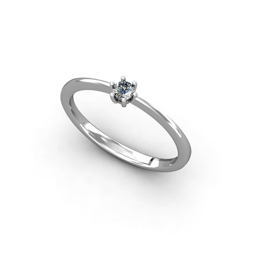 18kt White Gold Solitaire Ring 0,10 ct III ,[product vendor],JewelStreet