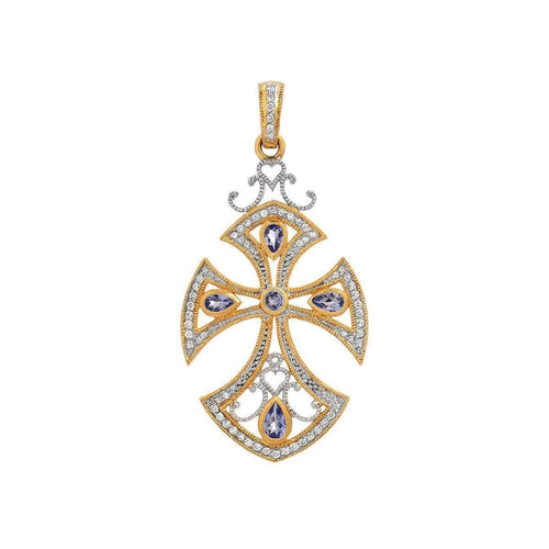 """Renaissance"" Cross with Tanzanite and Diamonds ,[product vendor],JewelStreet"