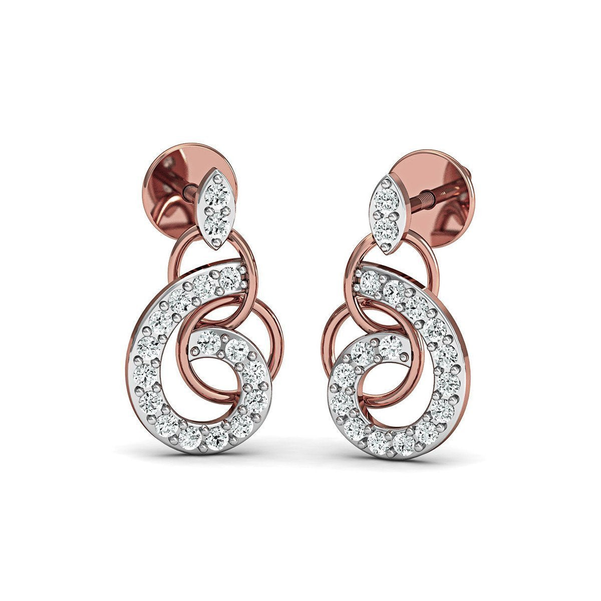 10kt Rose Gold and Diamond Pave Earrings-Earrings-Diamoire Jewels-JewelStreet