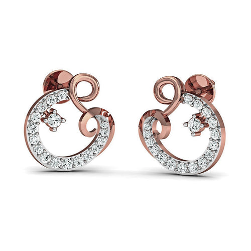 10kt Rose Gold Pave Earrings Handset with 34 Premium Diamonds-Earrings-Diamoire Jewels-JewelStreet