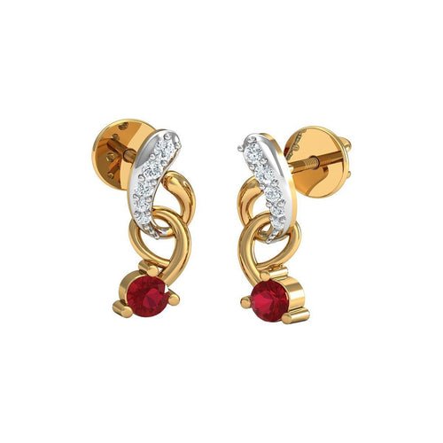 10kt Yellow Gold Pave Earrings with 12 Diamonds and 2 Round Cut Rubies-Earrings-Diamoire Jewels-JewelStreet