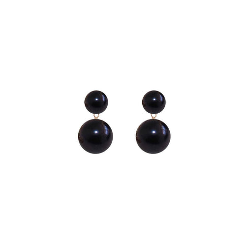 Duet Pearl Earrings - Black-Earrings-ORA Pearls-JewelStreet