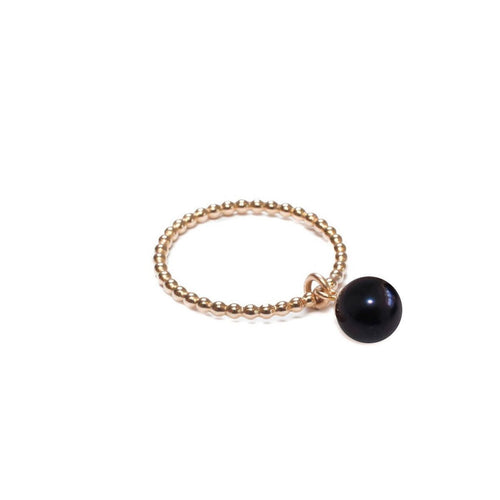 Orb Ring - Black Pearl - Gold-Rings-ORA Pearls-JewelStreet