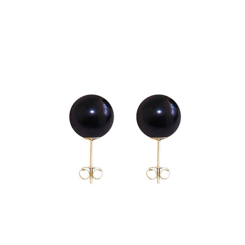 Classic Pearl Earrings - Black-Earrings-ORA Pearls-JewelStreet