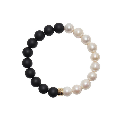 Orbis Pearl And Onyx Bracelet - Gold-Bracelets-ORA Pearls-JewelStreet