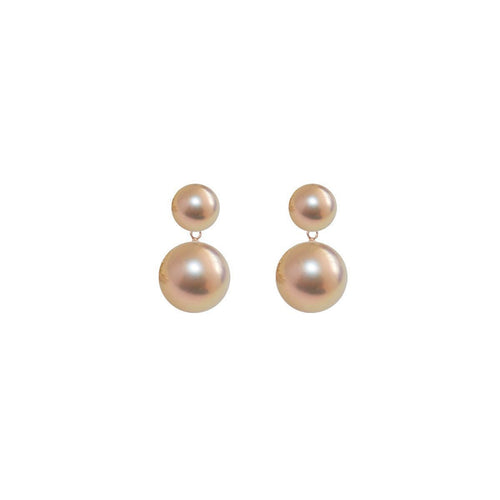Duet Pearl Earrings - Pink And Gold-Earrings-ORA Pearls-JewelStreet