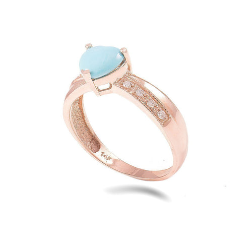 14kt Rose Gold Diamond And Turquoise Ring Heart Shaped ,[product vendor],JewelStreet