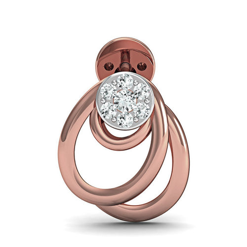 14kt Rose Gold Earrings with 14 Premium Quality Diamonds Inspired by Nature-Earrings-Diamoire Jewels-JewelStreet