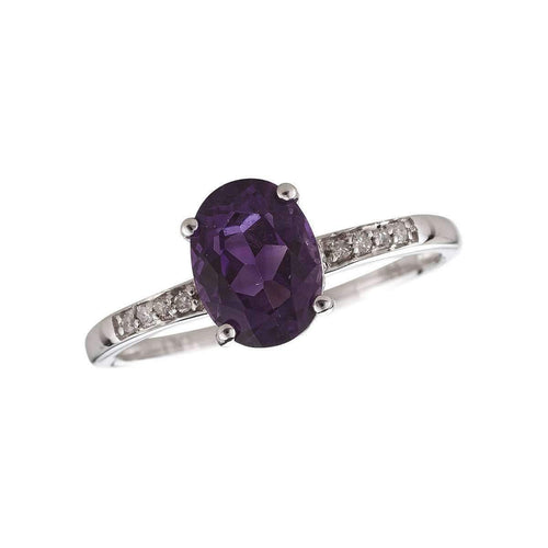 14kt White Gold Diamond And Amethyst Ring - February Birthstone ,[product vendor],JewelStreet