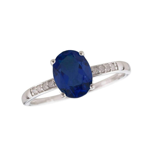 14kt White Gold Diamond And Sapphire Ring - September Birthstone ,[product vendor],JewelStreet