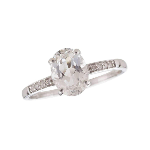 14kt White Gold Diamond And White Topaz Ring - April Birthstone ,[product vendor],JewelStreet