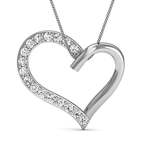 14kt White Gold Heart Pendant with Premium Quality Diamonds-Necklaces-Diamoire Jewels-JewelStreet