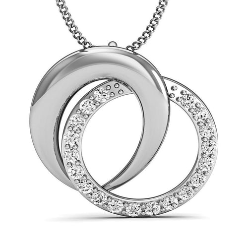 14kt White Gold Pave Pendant Handmade with Premium Quality Diamonds-Necklaces-Diamoire Jewels-JewelStreet