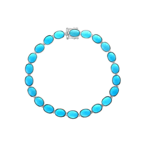14kt White Gold Turquoise Bracelet ,[product vendor],JewelStreet