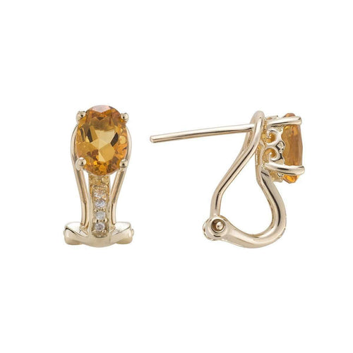 14kt Yellow Gold Diamond And Citrine Earring - November Birthstone ,[product vendor],JewelStreet