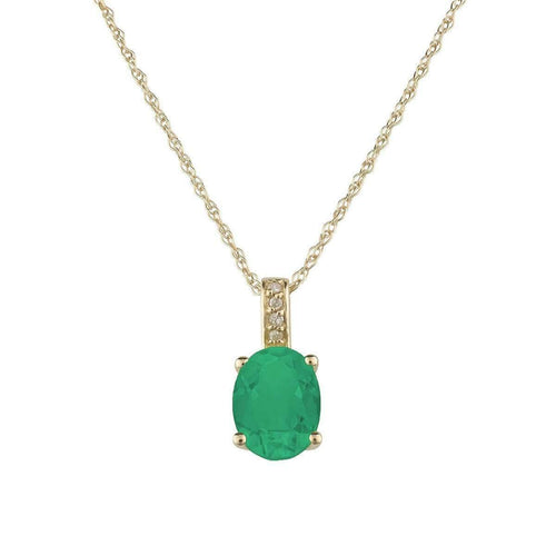 14kt Yellow Gold Diamond And Emerald Pendant With Chain - May Birthstone ,[product vendor],JewelStreet