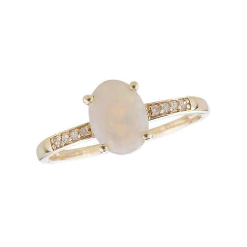 14kt Yellow Gold Diamond And Opal Ring - October Birthstone ,[product vendor],JewelStreet