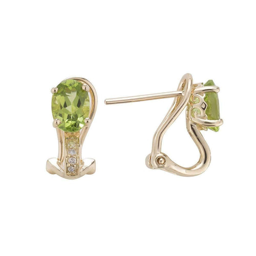14kt Yellow Gold Diamond And Peridot Earring - August Birthstone ,[product vendor],JewelStreet