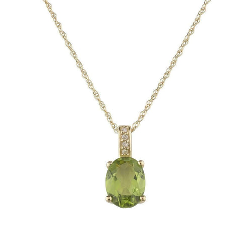 14kt Yellow Gold Diamond And Peridot Pendant With Chain - August Birthstone ,[product vendor],JewelStreet