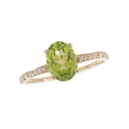 14kt Yellow Gold Diamond And Peridot Ring - August Birthstone ,[product vendor],JewelStreet