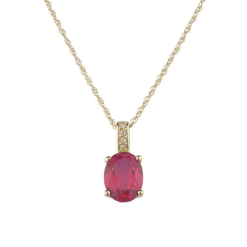 14kt Yellow Gold Diamond And Ruby Pendant With Chain - July Birthstone ,[product vendor],JewelStreet