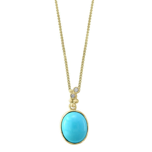 14kt Yellow Gold Diamond And Turquoise Pendant ,[product vendor],JewelStreet